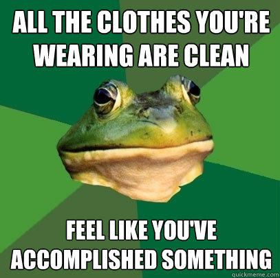 All the clothes you're wearing are clean Feel like you've accomplished something - All the clothes you're wearing are clean Feel like you've accomplished something  Foul Bachelor Frog