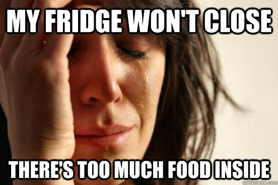 My fridge won't close There's too much food inside - My fridge won't close There's too much food inside  First World Problems