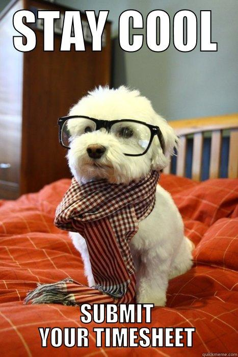 STAY COOL SUBMIT YOUR TIMESHEET Hipster Dog