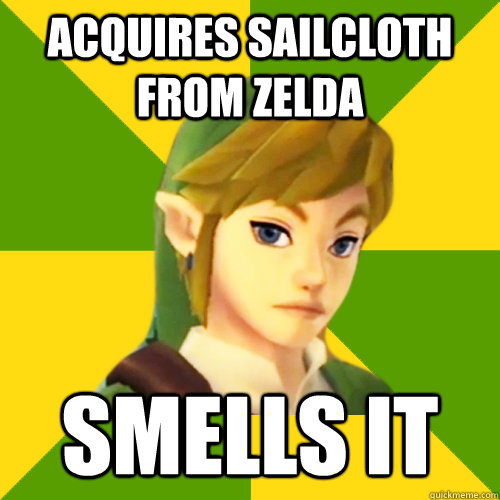 acquires sailcloth from zelda smells it