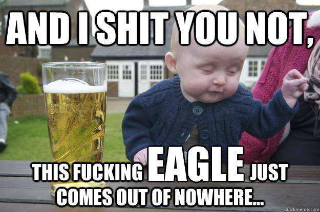 AND I SHIT YOU NOT, THIS FUCKING                              JUST COMES OUT OF NOWHERE... EAGLE  drunk baby