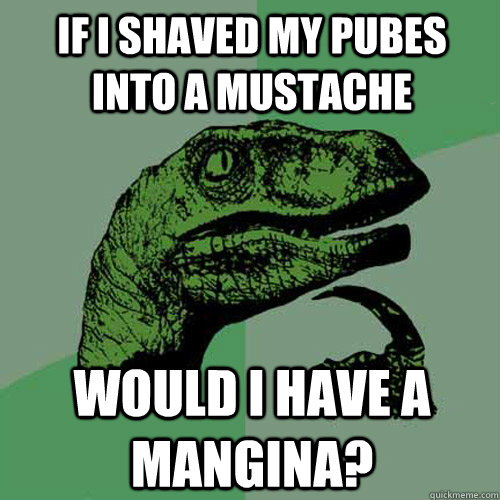 If I shaved my pubes into a mustache  would I have a mangina?  - If I shaved my pubes into a mustache  would I have a mangina?   Philosoraptor
