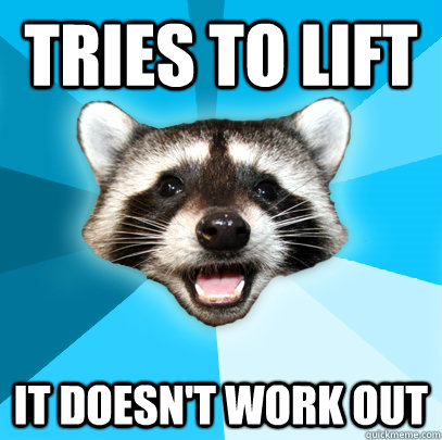 TRIES TO LIFT IT DOESN'T WORK OUT - TRIES TO LIFT IT DOESN'T WORK OUT  Lame Pun Coon