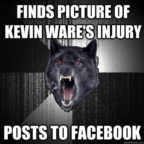 Finds picture of Kevin Ware's injury posts to facebook - Finds picture of Kevin Ware's injury posts to facebook  Insanity Wolf