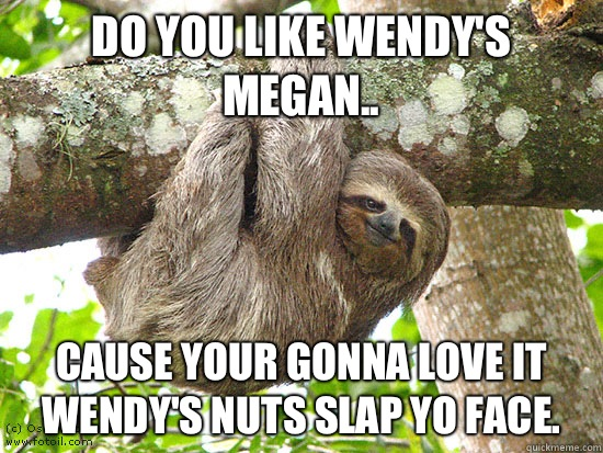 Do you like Wendy's Megan.. Cause your gonna love it Wendy's nuts slap yo face.