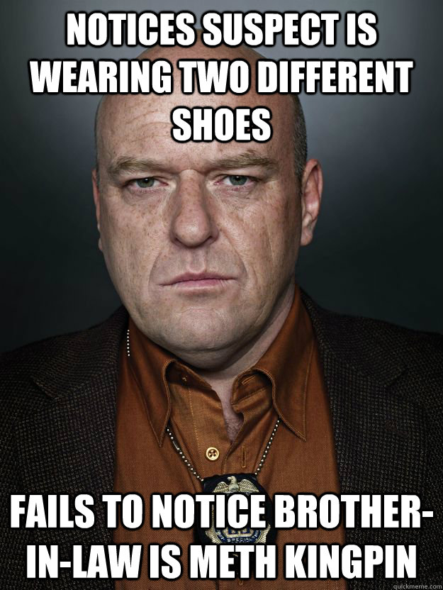 Notices suspect is wearing two different shoes Fails to notice brother-in-law is meth kingpin - Notices suspect is wearing two different shoes Fails to notice brother-in-law is meth kingpin  Hank Schrader