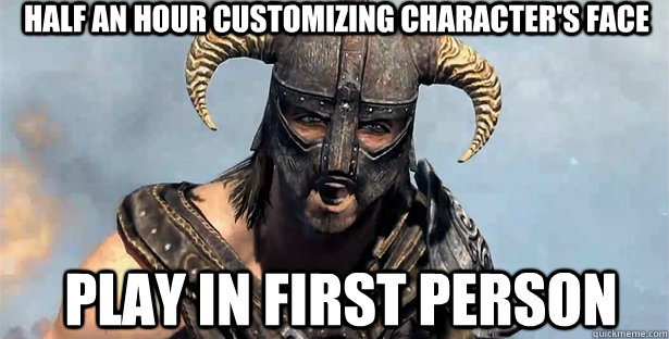 how to change from first person in skyrim