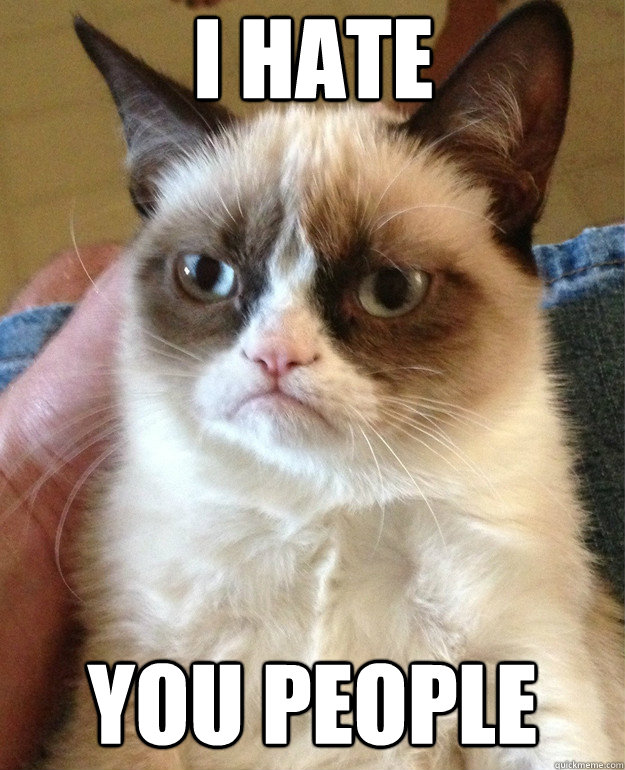 I hate you people - I hate you people  Grumpy Cat