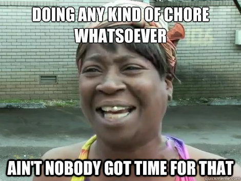doing any kind of chore whatsoever Ain't Nobody Got Time For that