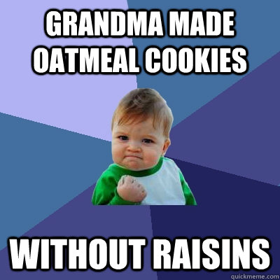 Grandma made oatmeal cookies without raisins - Grandma made oatmeal cookies without raisins  Success Kid