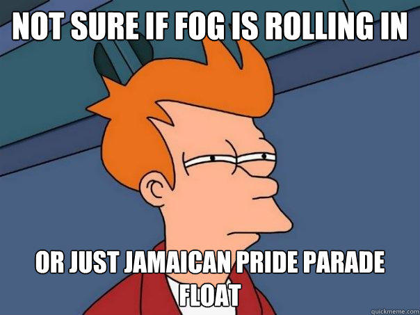 Not sure if fog is rolling in or just Jamaican pride parade float  - Not sure if fog is rolling in or just Jamaican pride parade float   Futurama Fry