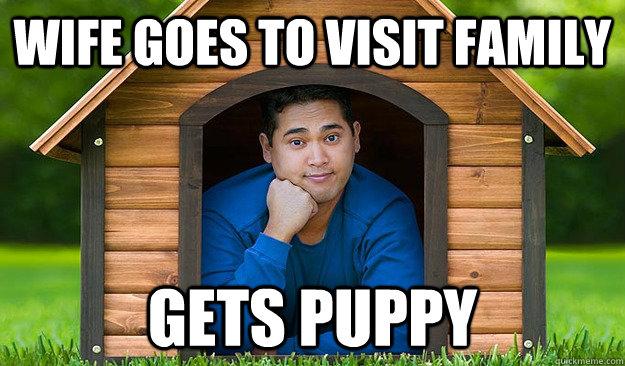7711808bb2164252c29ac685a81cf1fb10d22fb5ebf86d5eb5fd30d16d901498 husband in the doghouse memes quickmeme,Doghouse Meme