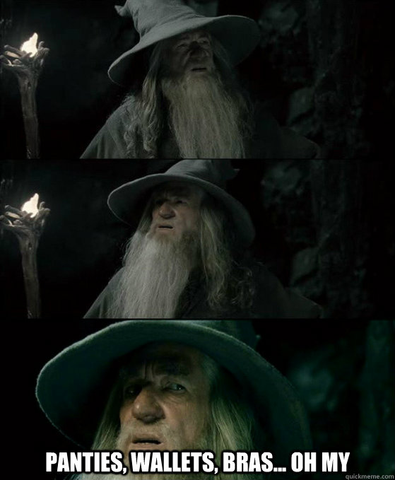 panties, wallets, bras... oh my -  panties, wallets, bras... oh my  Confused Gandalf