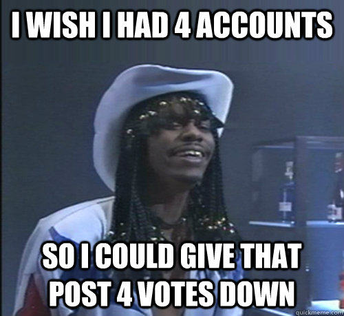 I wish I had 4 accounts so I could give that post 4 votes down