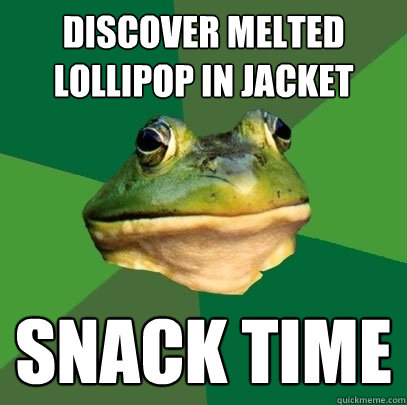 Discover melted lollipop in jacket snack time