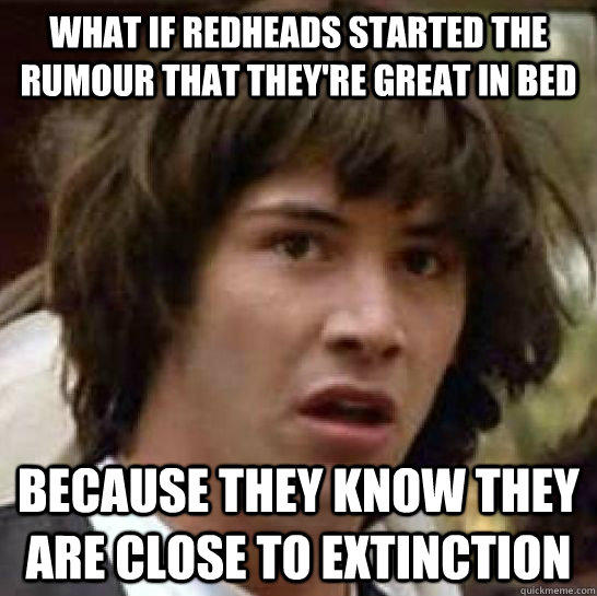 What if redheads started the rumour that they're great in bed because they know they are close to extinction  - What if redheads started the rumour that they're great in bed because they know they are close to extinction   conspiracy keanu