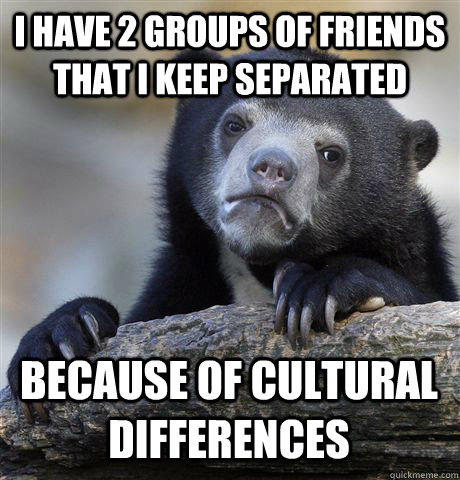I HAVE 2 GROUPS OF FRIENDS THAT I KEEP SEPARATED BECAUSE OF CULTURAL DIFFERENCES - I HAVE 2 GROUPS OF FRIENDS THAT I KEEP SEPARATED BECAUSE OF CULTURAL DIFFERENCES  Confession Bear