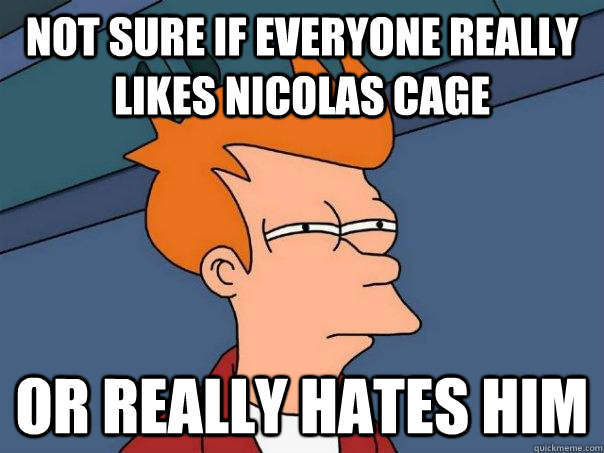 Not sure if everyone really likes Nicolas Cage Or really hates him - Not sure if everyone really likes Nicolas Cage Or really hates him  Misc