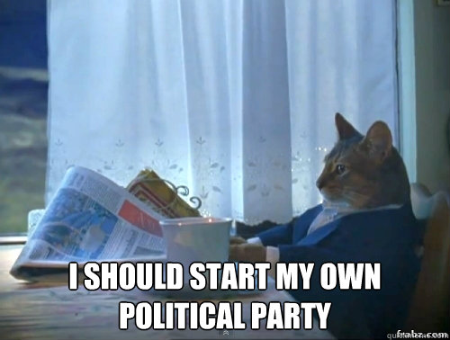 I SHOULD START MY OWN POLITICAL PARTY -  I SHOULD START MY OWN POLITICAL PARTY  Contemplative Breakfast Cat