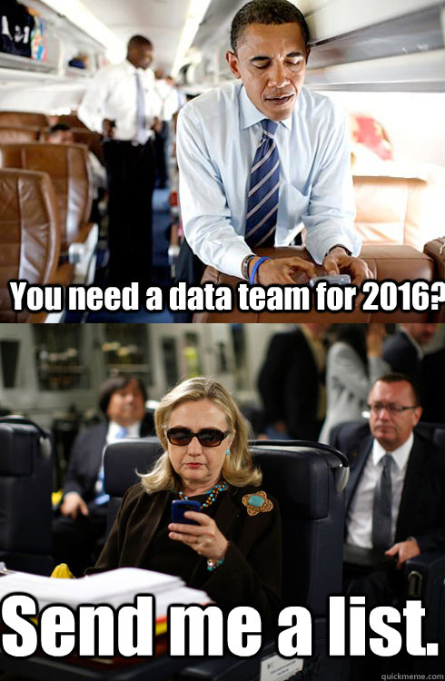 You need a data team for 2016? Send me a list.  Texts From Hillary