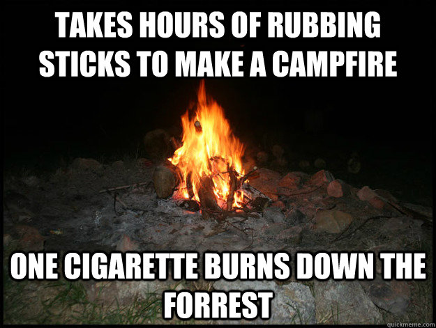 Takes hours of rubbing sticks to make a campfire One cigarette burns down the forrest