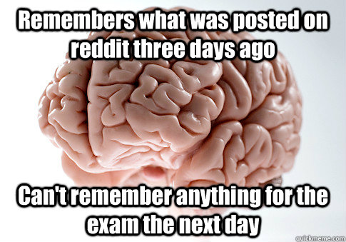 Remembers what was posted on reddit three days ago Can't remember anything for the exam the next day  - Remembers what was posted on reddit three days ago Can't remember anything for the exam the next day   Scumbag Brain