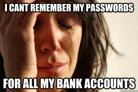I CANT REMEMBER MY PASSWORDS FOR ALL MY BANK ACCOUNTS - I CANT REMEMBER MY PASSWORDS FOR ALL MY BANK ACCOUNTS  First World Problems