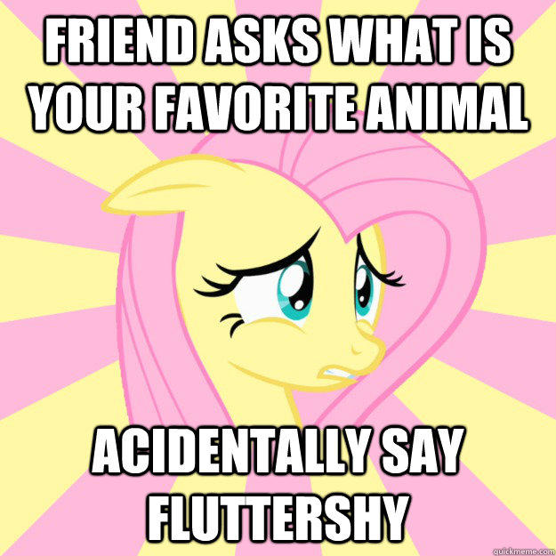 friend asks what is your favorite animal acidentally say fluttershy - friend asks what is your favorite animal acidentally say fluttershy  Socially awkward brony