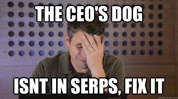 The CEO's dog isnt in SERPs, Fix it - The CEO's dog isnt in SERPs, Fix it  Facepalm Matt Cutts