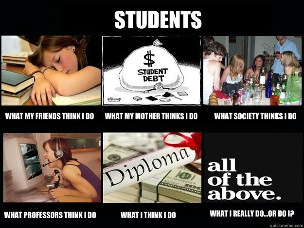 Students What my friends think I do What my mother thinks I do What society thinks I do what professors think I do what I think I do What I really do...or do I? - Students What my friends think I do What my mother thinks I do What society thinks I do what professors think I do what I think I do What I really do...or do I?  Student What People Think I Do