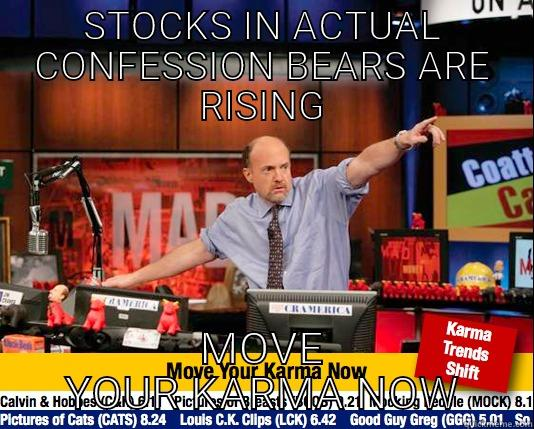 STOCKS IN ACTUAL CONFESSION BEARS ARE RISING MOVE YOUR KARMA NOW Mad Karma with Jim Cramer