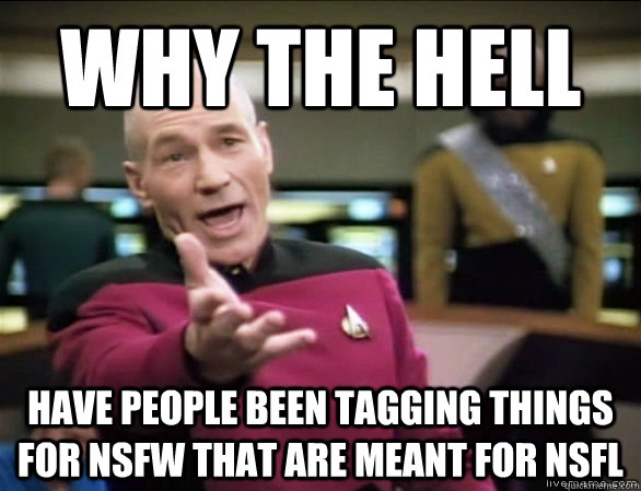 why the Hell Have people been tagging things for NSFW that are meant for NSFL - why the Hell Have people been tagging things for NSFW that are meant for NSFL  Annoyed Picard HD