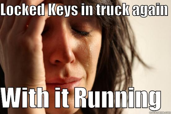 LOCKED KEYS IN TRUCK AGAIN   WITH IT RUNNING  First World Problems