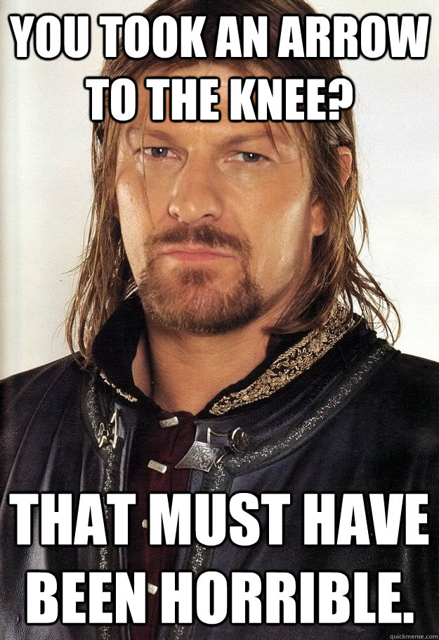 You took an arrow to the knee? That must have been horrible. - You took an arrow to the knee? That must have been horrible.  unimpressed Boromir