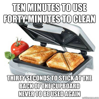 ten minutes to use forty minutes to clean thirty seconds to stick at the back of the cupboard never to be used again - ten minutes to use forty minutes to clean thirty seconds to stick at the back of the cupboard never to be used again  waste of fifteen quid