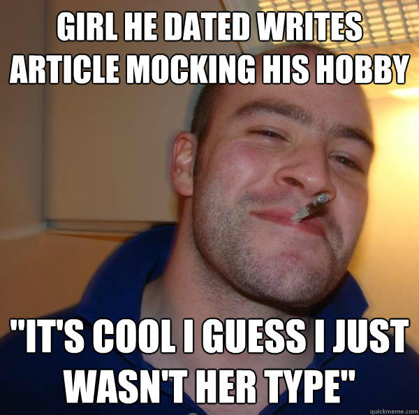 girl he dated writes article mocking his hobby