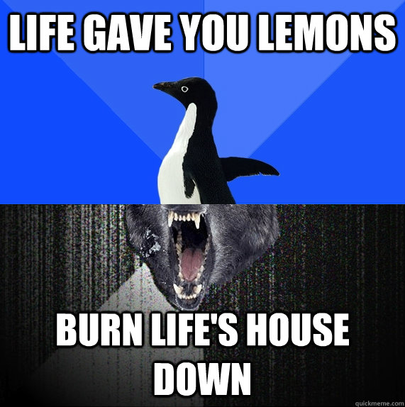 Life gave you lemons Burn life's house down