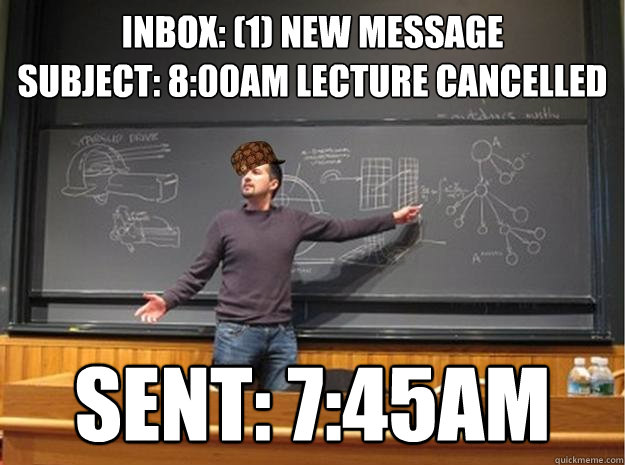 inbox: (1) new message subject: 8:00am lecture cancelled sent: 7:45am