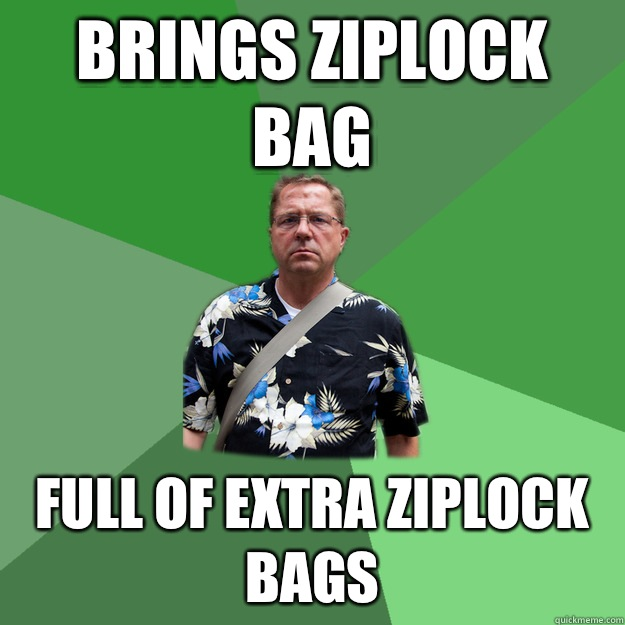 Brings ziplock bag Full of extra ziplock bags