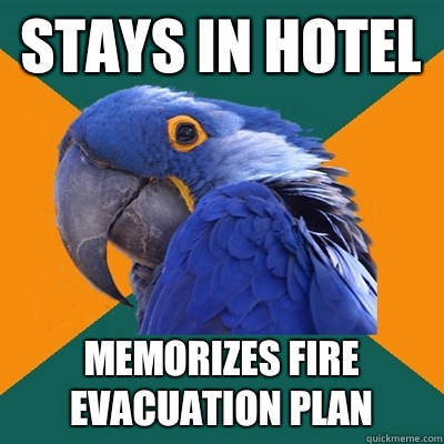 Stays in hotel Memorizes fire evacuation plan  - Stays in hotel Memorizes fire evacuation plan   Paranoid Parrot