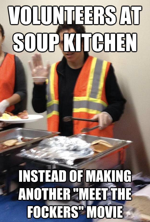Volunteers at Soup Kitchen instead of making another