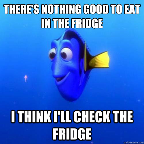 There's nothing good to eat in the fridge I think I'll check the fridge  - There's nothing good to eat in the fridge I think I'll check the fridge   dory