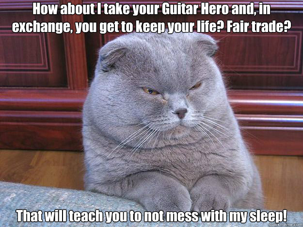 How about I take your Guitar Hero and, in exchange, you get to keep your life? Fair trade? That will teach you to not mess with my sleep! - How about I take your Guitar Hero and, in exchange, you get to keep your life? Fair trade? That will teach you to not mess with my sleep!  Misc