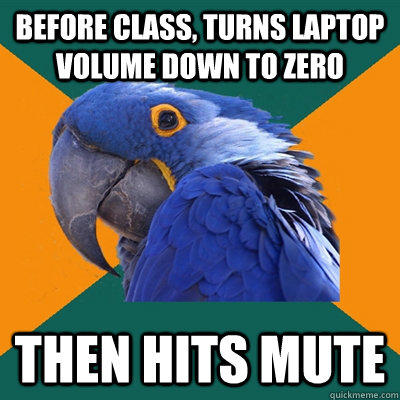 before class, turns laptop volume down to zero then hits mute - before class, turns laptop volume down to zero then hits mute  Paranoid Parrot