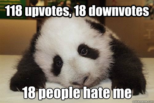 118 upvotes, 18 downvotes 18 people hate me