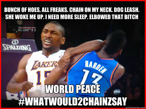 Bunch of hoes. All Freaks. Chain on my neck. Dog leash. She woke me up. I need more sleep. Elbowed that bitch World peace #Whatwould2chainzsay