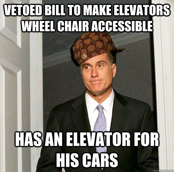vetoed bill to make elevators wheel chair accessible  has an elevator for his cars