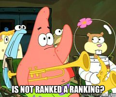 is not ranked a ranking? -  is not ranked a ranking?  Band Patrick