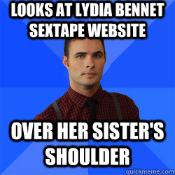 Looks at Lydia Bennet sextape website over her sister's shoulder