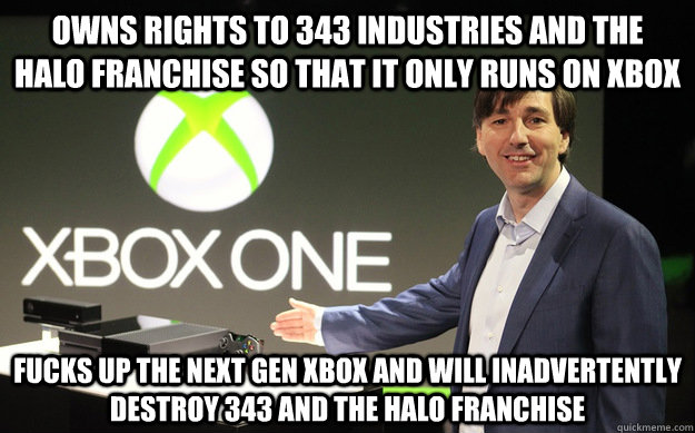 Owns rights to 343 industries and the halo franchise so that it only runs on xbox Fucks up the next gen xbox and will inadvertently destroy 343 and the Halo franchise